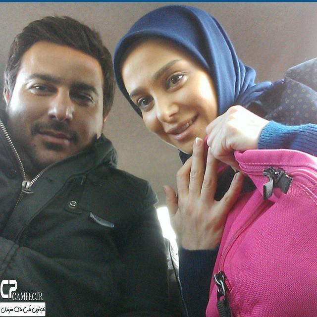 الناز حبیبی و محسن کیایی در پشت صحنه سریال سر به راه