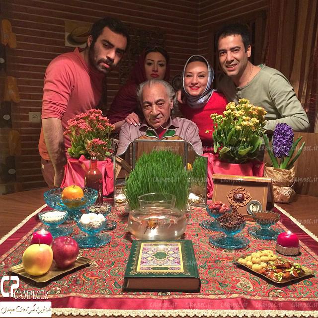 نیما فلاح و همسرش سحر ولدبیگی به همراه خانواده